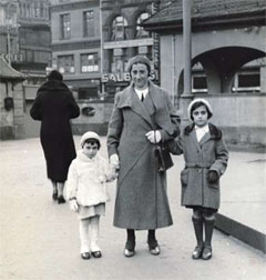 Anne Frank (on the left) with her mother Edith and sister Margot wearing the white fur jacket, photographed by Otto Frank, March 1933 in Germany.