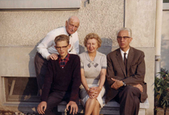 The Gies family visiting Otto Frank in Basel (Switzerland), summer of 1964.