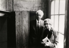 Jan and Miep Gies in the Secret Annex by the bookcase that closed off the hiding space, ca. 1988