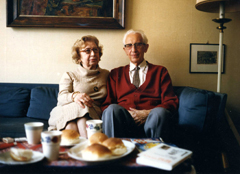 Miep and Jan Gies at home in Amsterdam, 1986-1988.