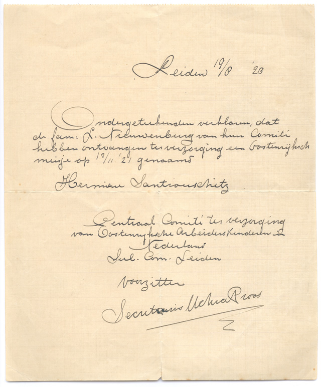 Declaration of foster placement commencing November 21, 1921.