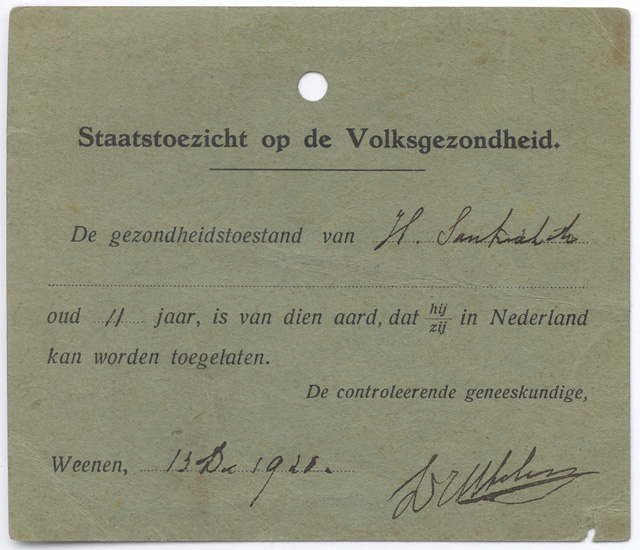 Dutch medical declaration dated 1920.