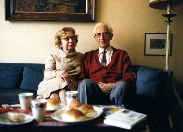 Miep and Jan Gies at home in Amsterdam, ca. 1986-1988.