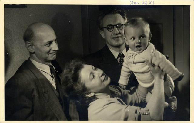 Miep Gies with son Paul, Otto Frank and Jan, January  1951, in Amsterdam