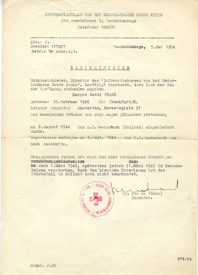 Official Red Cross declaration of Margot Frank's death, May 5,1954.