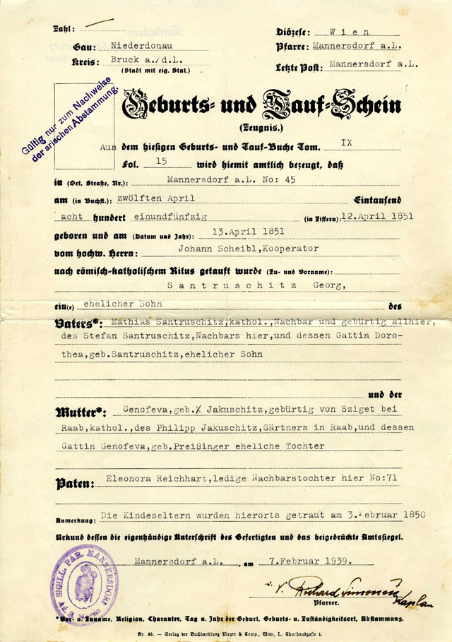 Austrian declaration of non-Jewish descent of Hermine Santruschitz, 1939.